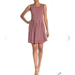 Max Studio Pattern Sleeveless Fit Flare Dress Red